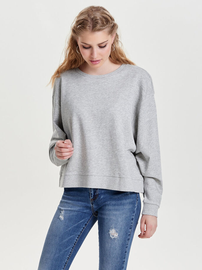 OVERSIZED SWEATSHIRT, Light Grey Melange, large