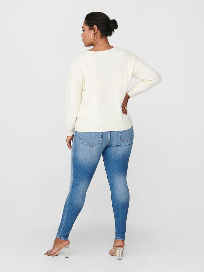 CURVY DETAILED KNITTED PULLOVER, Eggnog, large