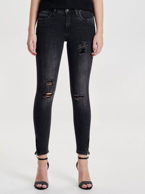 KENDELL ANKLE ZIP GREY SKINNY FIT JEANS