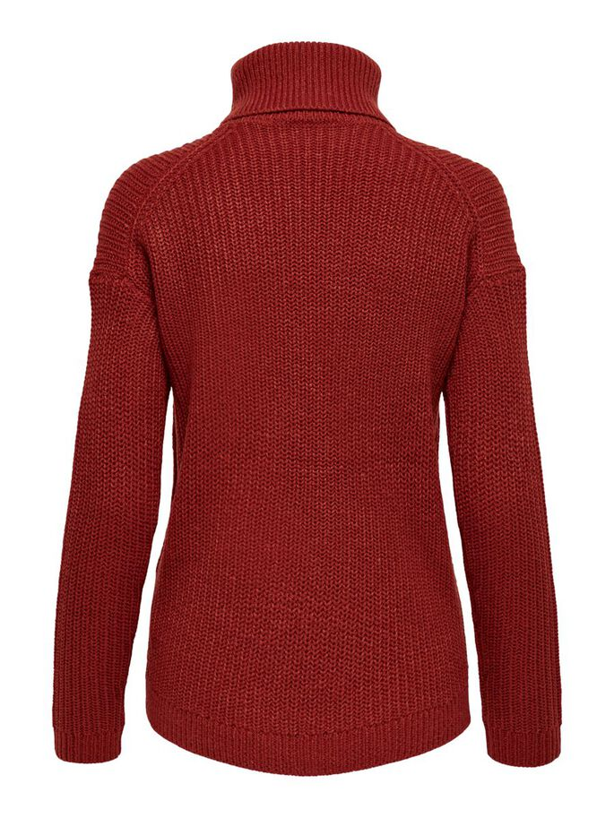 COL ROULÉ PULL EN MAILLE, Red Ochre, large
