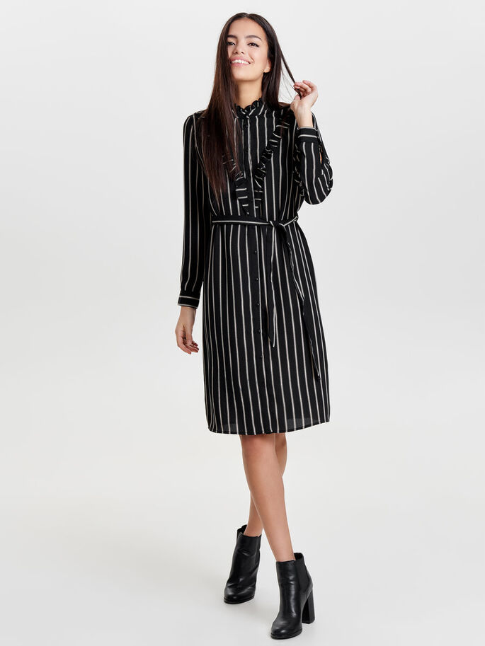 STRIPED LONG SLEEVED DRESS, Black, large