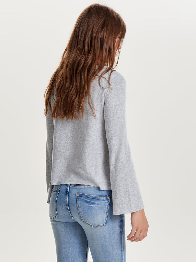FLARE LONG SLEEVED TOP, Light Grey Melange, large