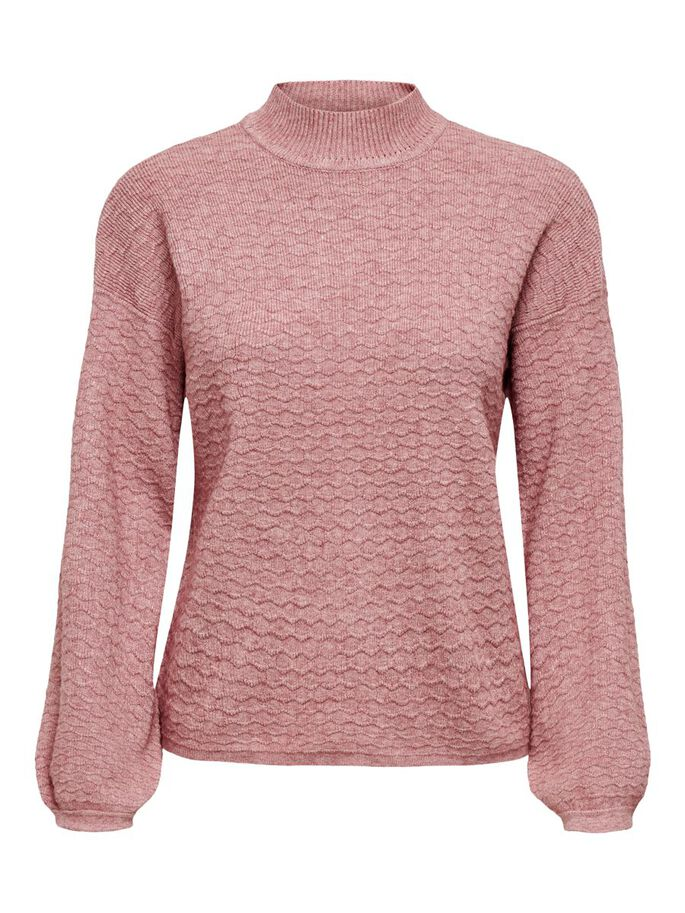 HIGH NECK KNITTED PULLOVER, Dusty Rose, large