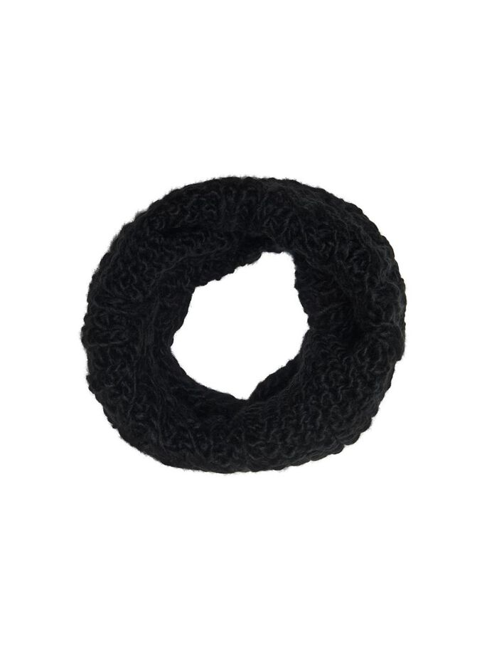 KNITTED TUBE SCARF, Black, large
