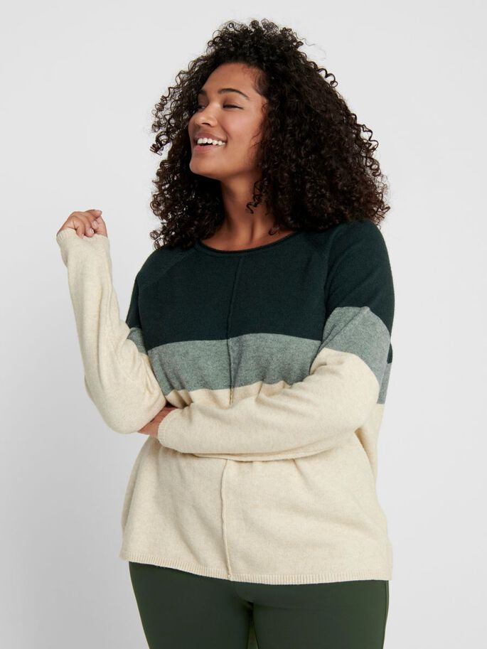 CURVY CONTRAST COLORED KNITTED PULLOVER, June Bug, large