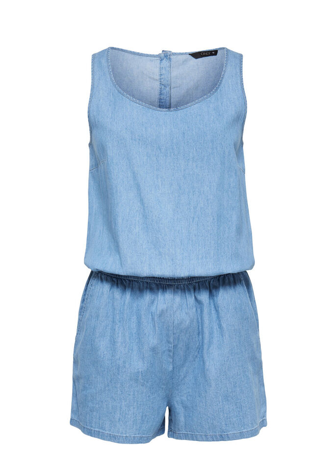 SLEEVELESS PLAYSUIT, Medium Blue Denim, large
