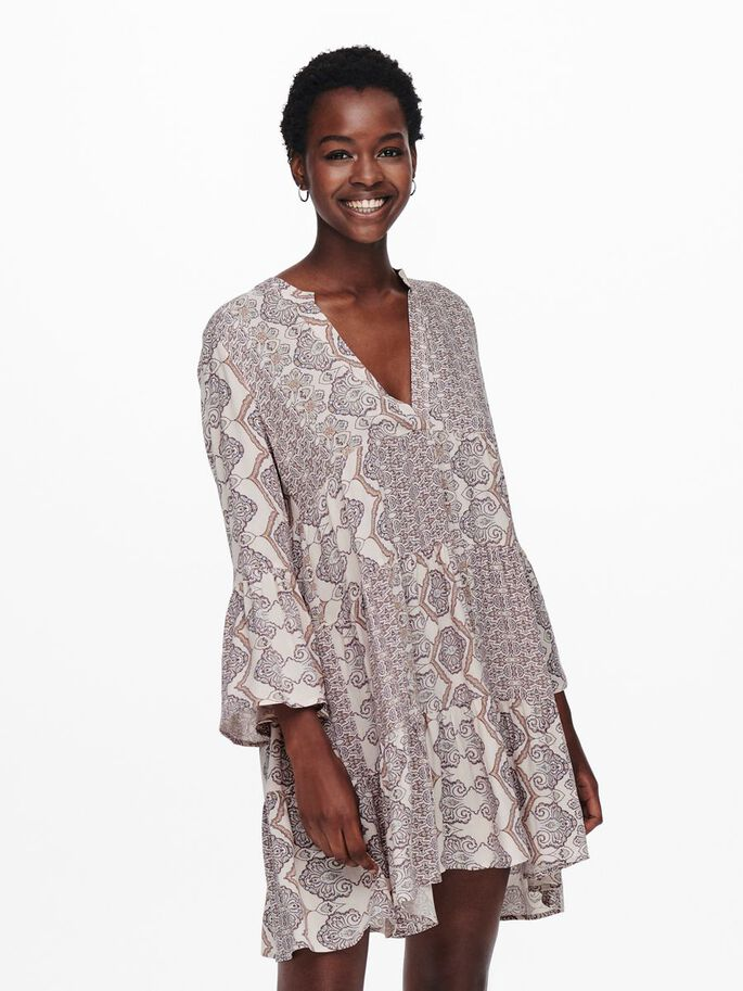 PRINTED LOOSE FITTED DRESS, Cloud Dancer, large
