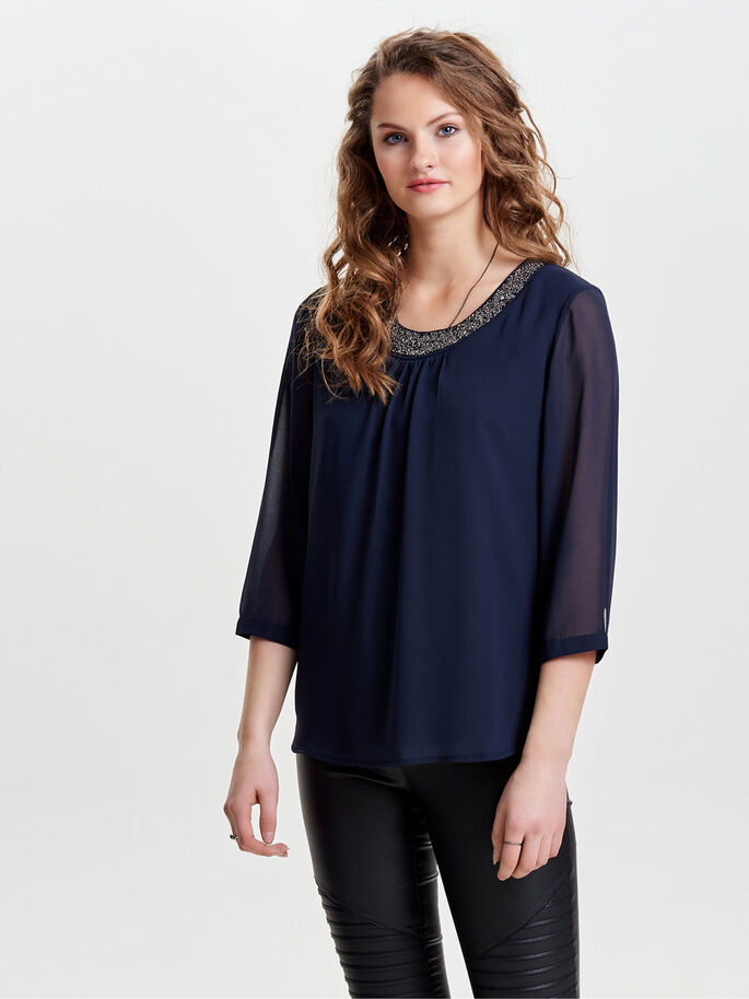 DETALJERET 3/4 SLEEVED TOP, Night Sky, large
