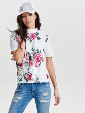 HIGH NECK SHORT SLEEVED TOP
