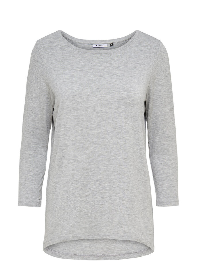 RUIMVALLENDE TOP MET 3/4 MOUWEN, Light Grey Melange, large