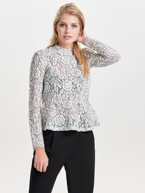 PEPLUM LACE LONG SLEEVED TOP