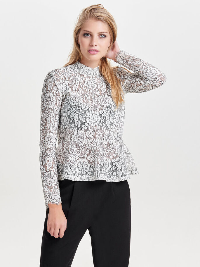 PEPLUM LACE LONG SLEEVED TOP, Cloud Dancer, large