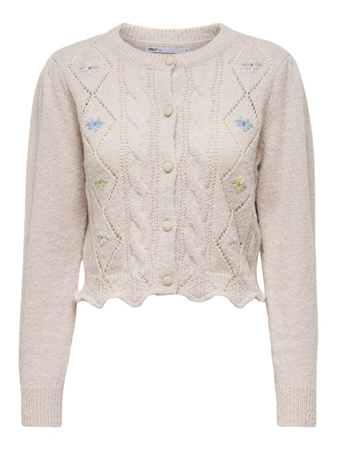 EMBROIDERY KNITTED CARDIGAN, Pumice Stone, large