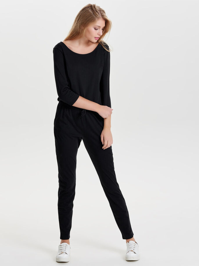 3/4-ÄRMEL- JUMPSUIT, Black, large