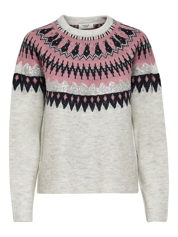 PATTERNED KNITTED PULLOVER, Light Grey Melange, large
