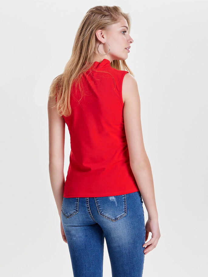 DETAILED SLEEVELESS TOP, Flame Scarlet, large