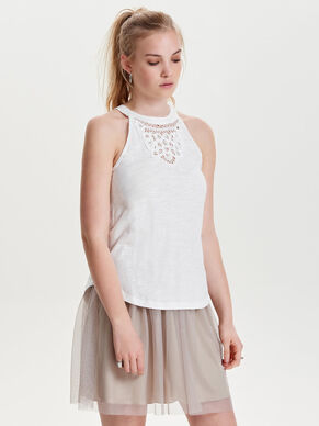 RAW LACE SLEEVELESS TOP