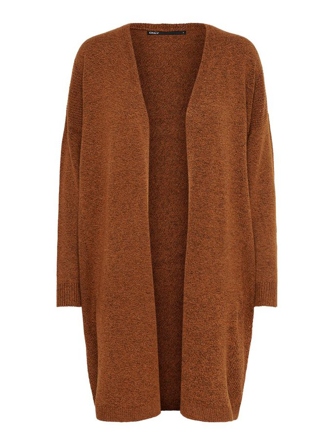 LONG KNITTED CARDIGAN, Ginger Bread, large