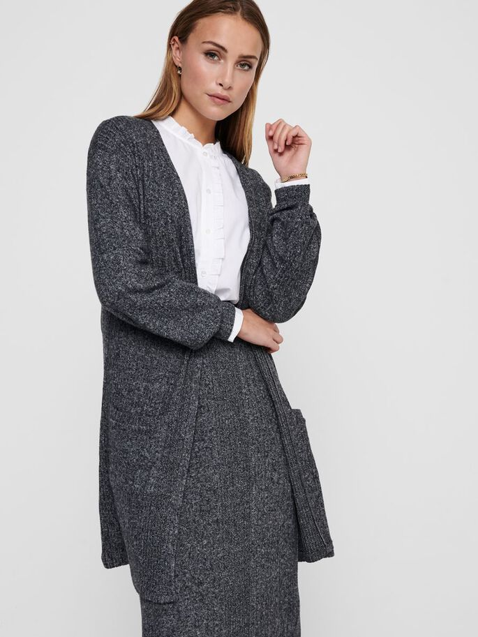 LONGLINE STRICKJACKE, Dark Grey Melange, large