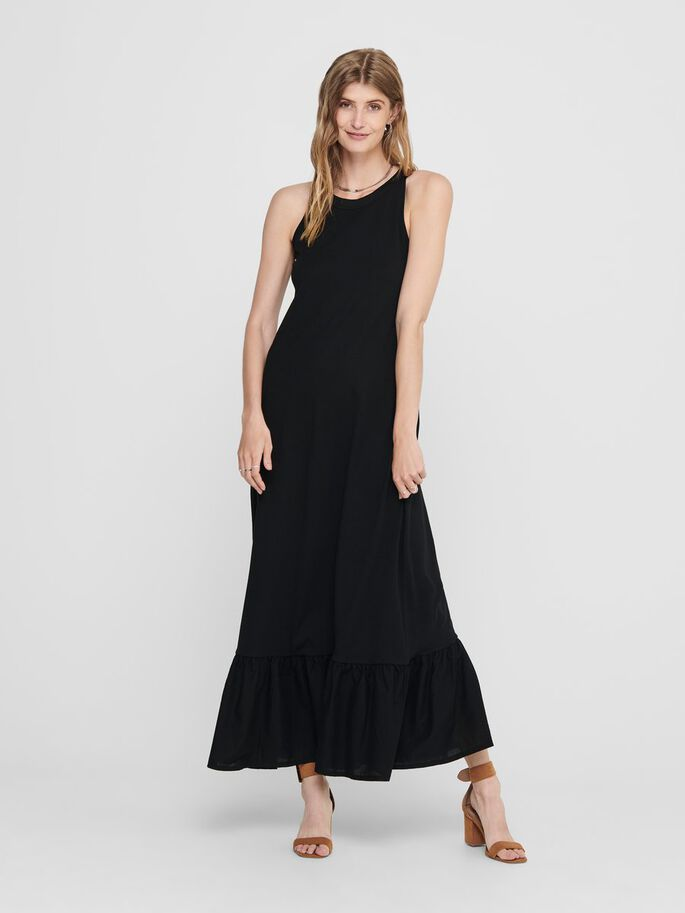 FRILL MAXI DRESS, Black, large