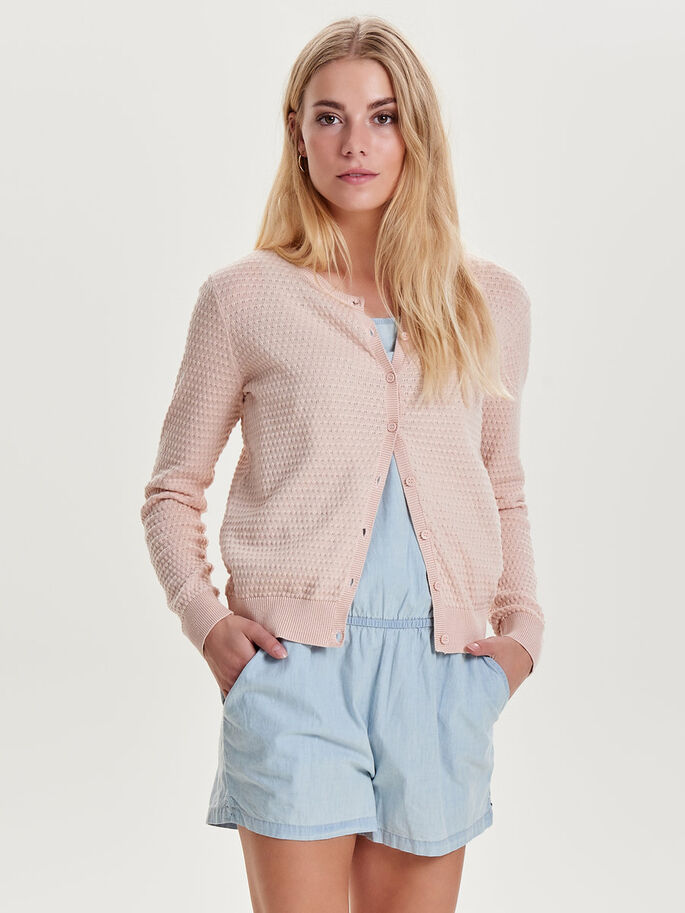 SHORT KNITTED CARDIGAN, Peach Whip, large
