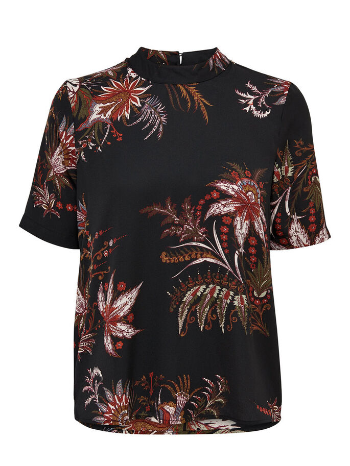 FLOWERED T-SHIRT, Black, large