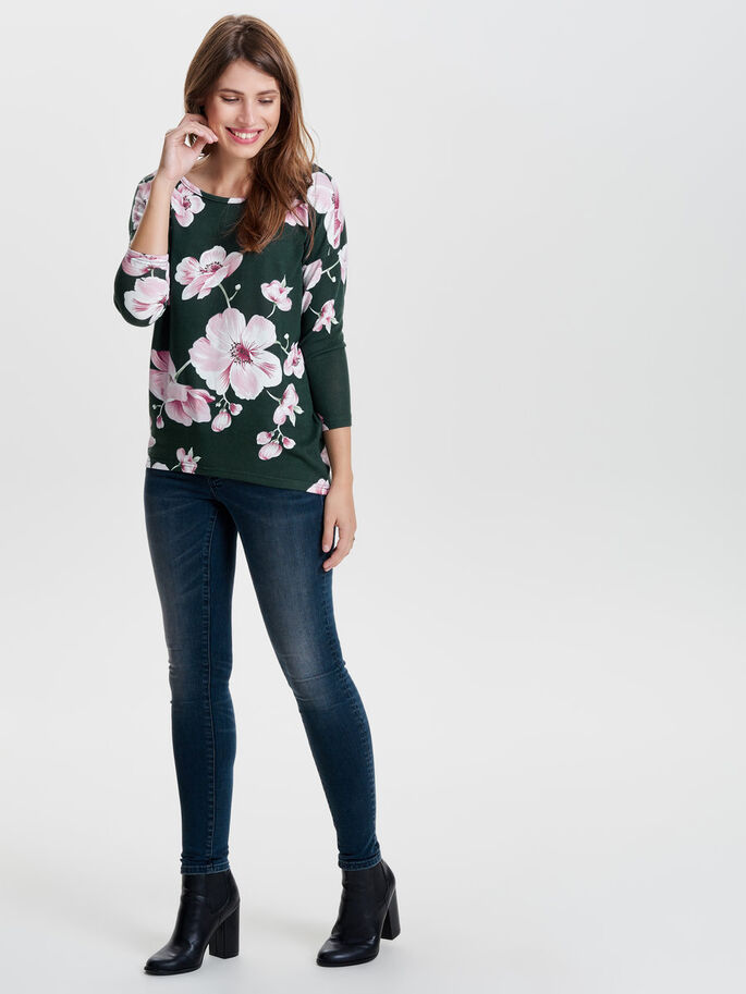FLOWERED 3/4 SLEEVED TOP, Scarab, large