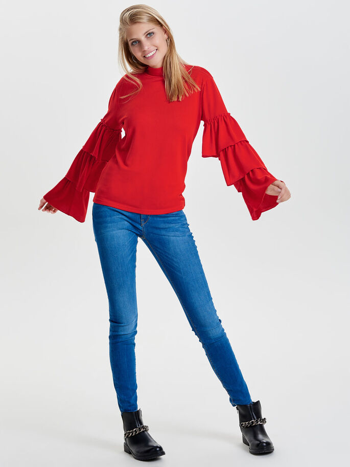 FRILL LONG SLEEVED TOP, Flame Scarlet, large