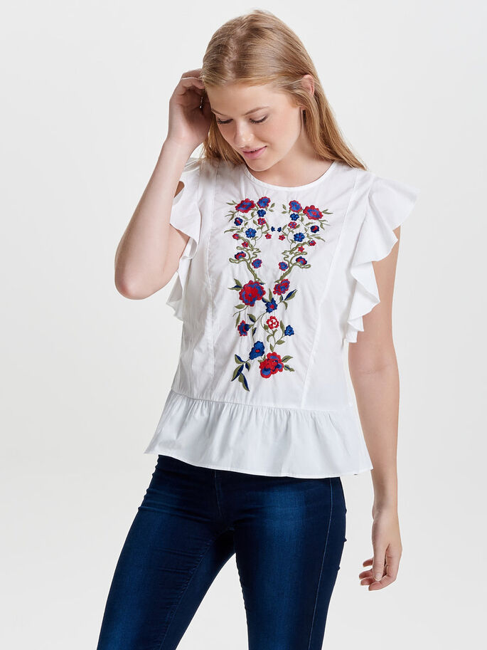 EMBROIDERY SLEEVELESS TOP, Cloud Dancer, large