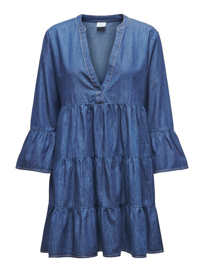 FRILL DENIM DRESS, Medium Blue Denim, large