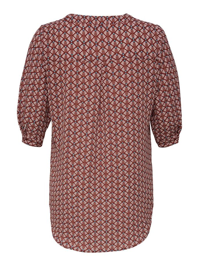 CURVY 3/4 SLEEVED TUNIC, Fired Brick, large