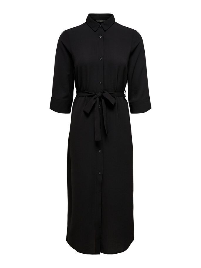 LONG SHIRT DRESS, Black, large