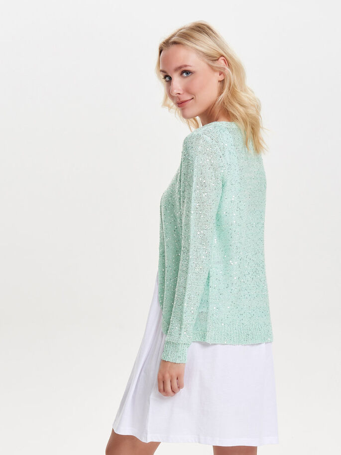 SEQUINS KNITTED CARDIGAN, Bay, large