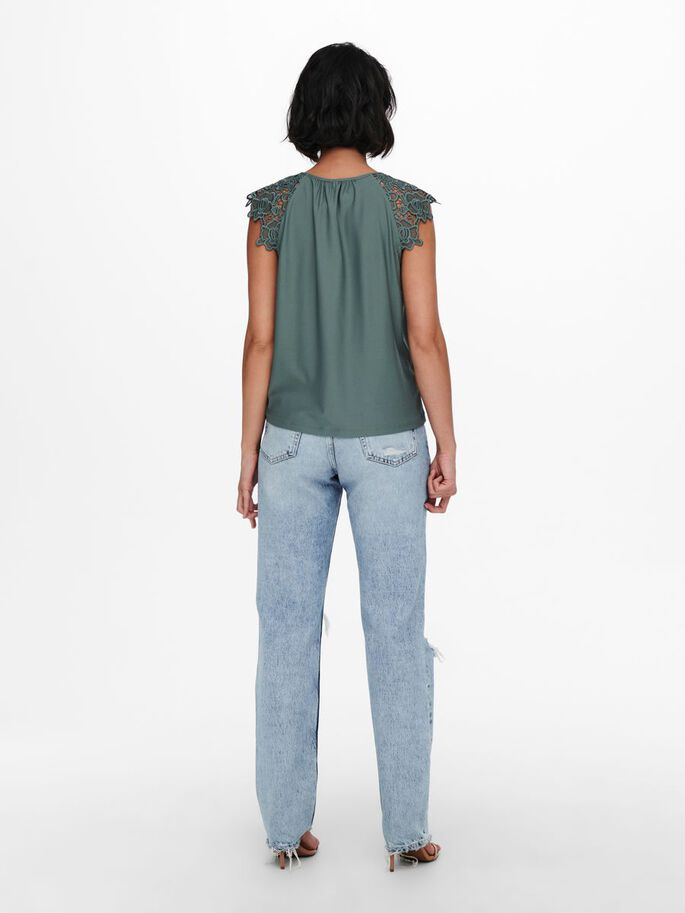 LACE DETAIL TOP, Balsam Green, large