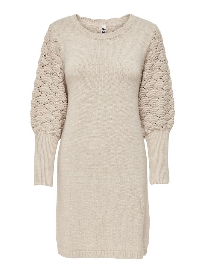 LONG SLEEVED KNITTED DRESS, Beige, large