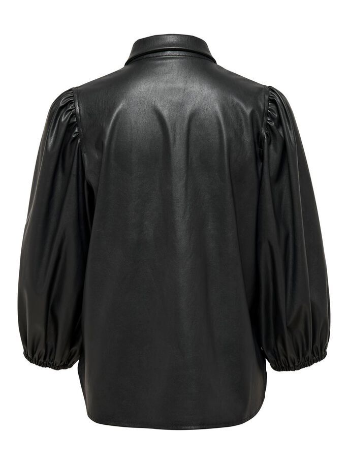 LEATHER LOOK PUFF SLEEVE SHIRT, Black, large