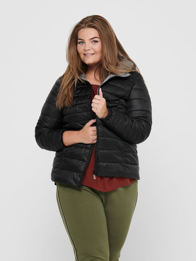 CURVY SHORT QUILTED JACKET, Black, large