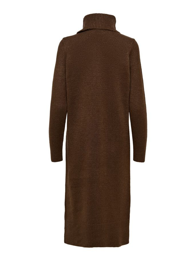 ROLL NECK KNITTED DRESS, Chicory Coffee, large
