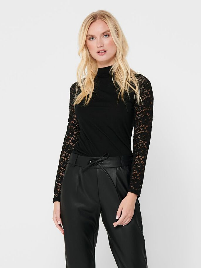 LACE TOP, Black, large