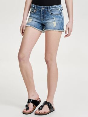 CORAL SUPERLOW DESTROYED DENIMSHORTS