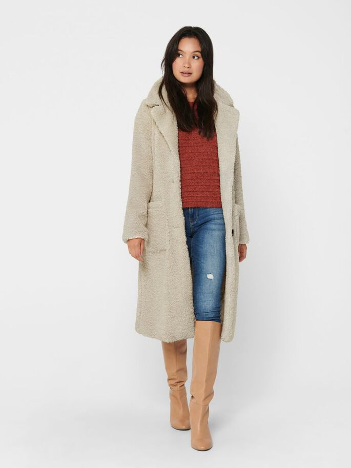 LONG SOLID COLORED COAT, Pumice Stone, large