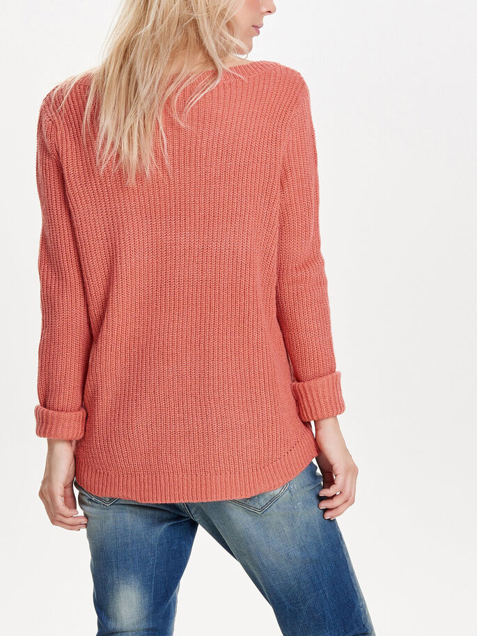 SOLID KNITTED PULLOVER, Faded Rose, large