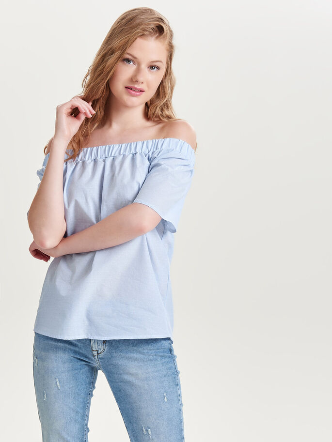 OFF SHOULDER SHORT SLEEVED TOP, Cloud Dancer, large