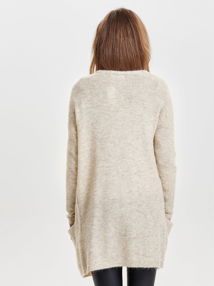 AMPLE CARDIGAN EN MAILLE, Pumice Stone, large