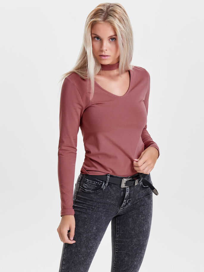 CHOKER LONG SLEEVED TOP, Withered Rose, large