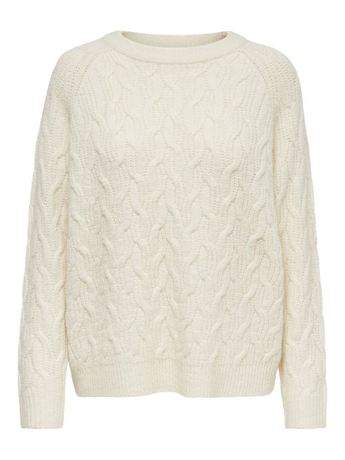 TEXTURE KNITTED PULLOVER, Pristine, large