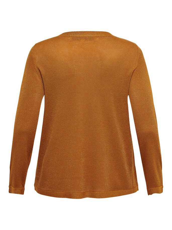 CURVY V-NECK KNITTED PULLOVER, Pumpkin Spice, large