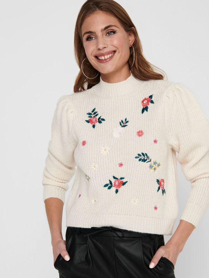 EMBROIDERY KNITTED PULLOVER, Whitecap Gray, large