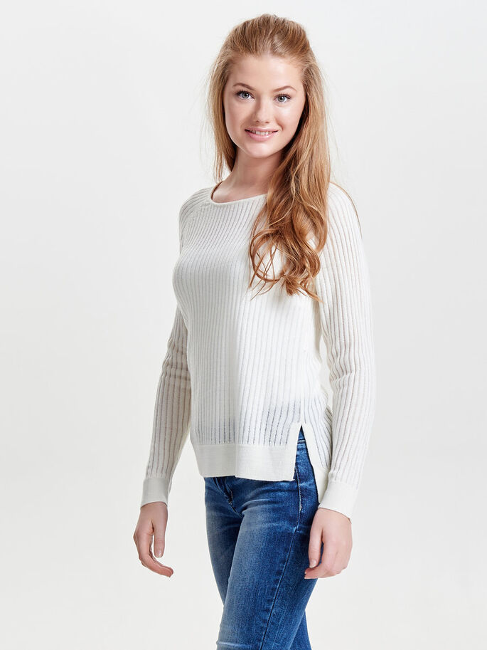 LOOSE KNITTED PULLOVER, Cloud Dancer, large