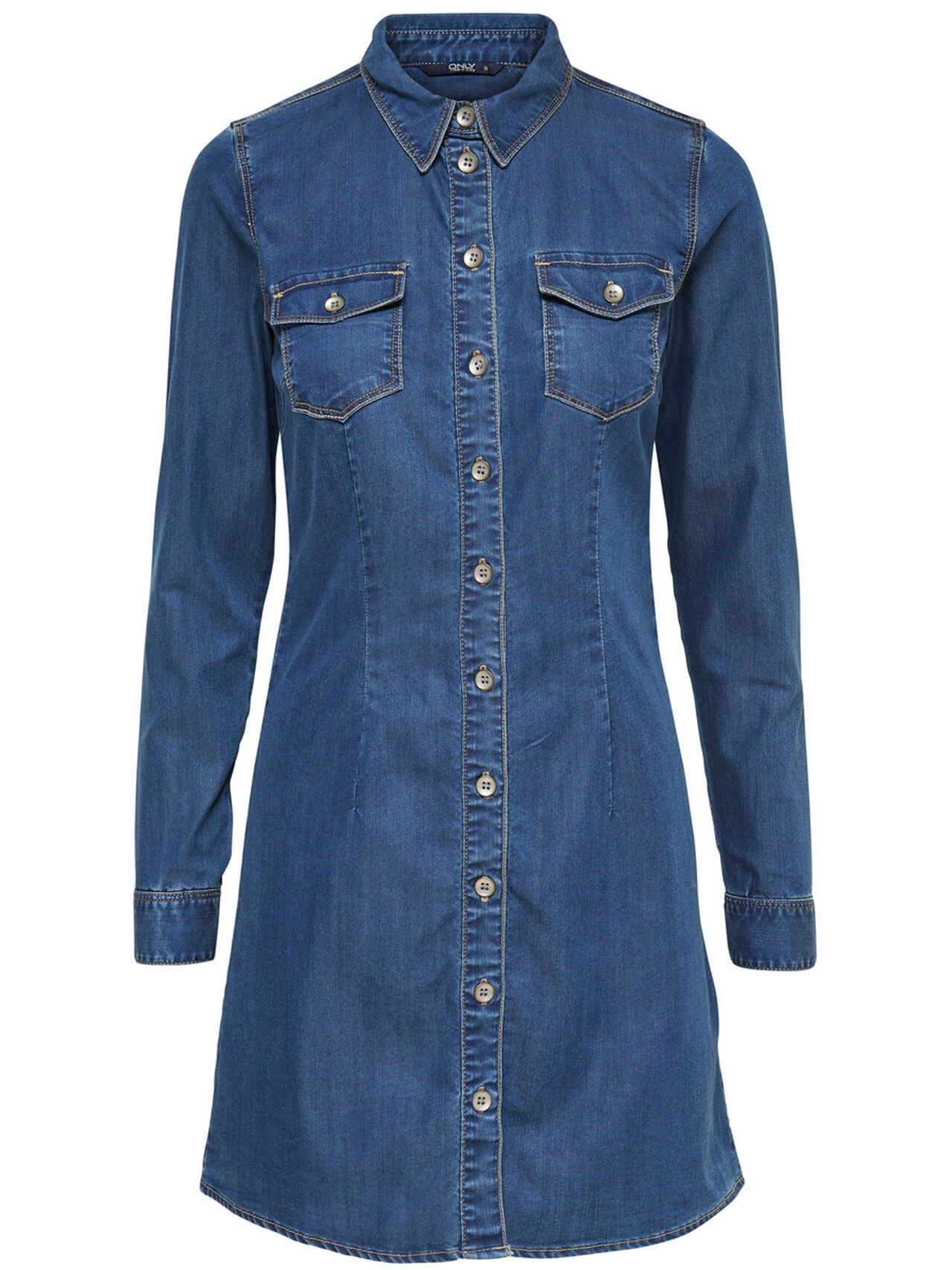 ONLY Long Denim Shirt Women Blue